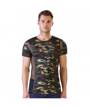 Tee Shirt Camouflage et Tulle - L