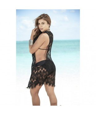 Cover up beach dress black 7838